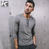 KUEGOU New Autumn Mens Fashion T Shirts Patchwork Black Gray Color Brand Clothing Man S Long