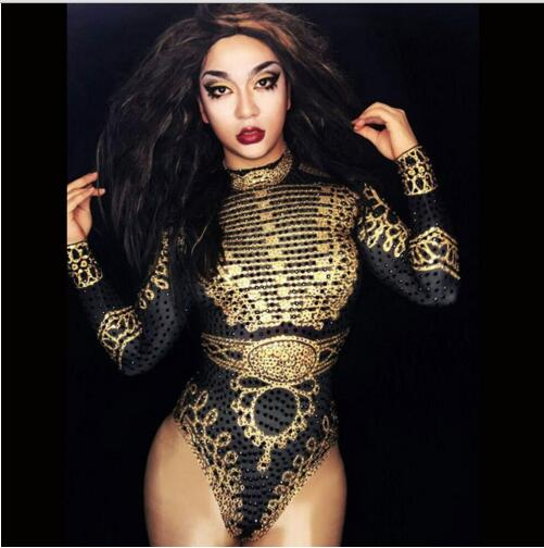 Fashion Sexy Glisten Black Gold Crystals Bodysuit Women's Long Sleeves Outfit Dance Stage Show Nightclub Costume