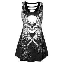 JIEZuoFang Plus Size Women Tops Skull Print Cut Out Top Gothic t-shirt Femme U Neck Big Size Sleeveless Blusas Hole Summer Tee plus size cut out tunic t shirt