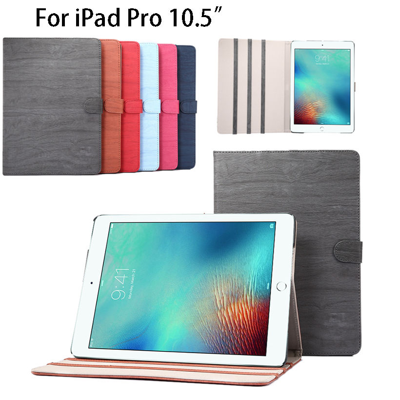 High Quality Wood Grain Pattern PU Leather Case for Apple iPad Pro 10.5  Cover Tablet Stand Protector shell skin Funda Capa for apple ipad air case flip stand cover pu leather leopard series rotate protective tablet cover coque funda capa