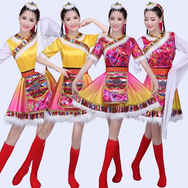 9998c2b80425 2018 new Tibetan dance costume children adult Tibetan water sleeves ...