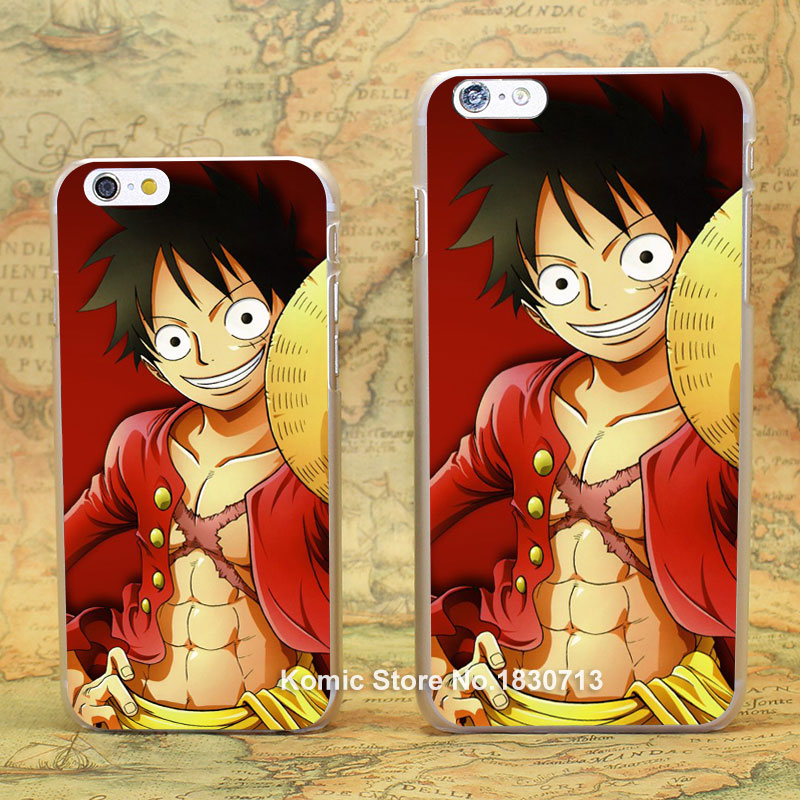 Luffy One Piece comic Pattern hard transparent clear Cover Case for iPhone 4 4s 5 5s 5c 6 6s 6 Plus