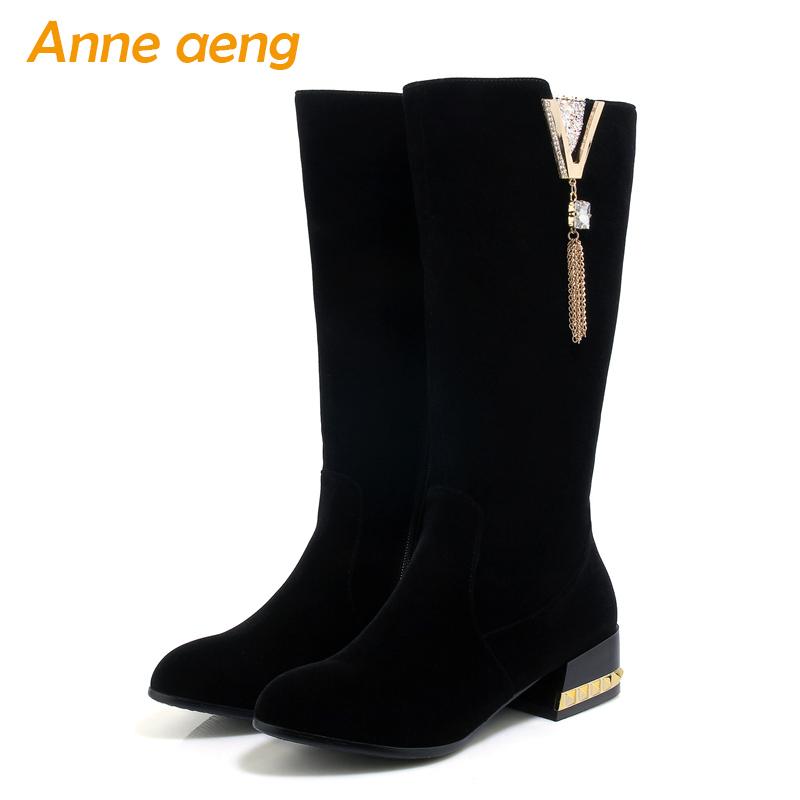 2019 autumn winter women boots Mid-Calf 4cm square middle heel zip ladies sexy warm snow boots black women shoes big size 33-43 xjrhxjr size 33 43 shoes woman autumn winter warm shoes fashion wedges heel mid calf boots suede leather riding boots black gray