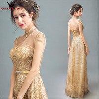 QUEEN BRIDAL Evening Dresses Straight High Neck Golded Sequin Elegant Prom Party Dress Evening Gown 2018 Vestido De Festa JW31