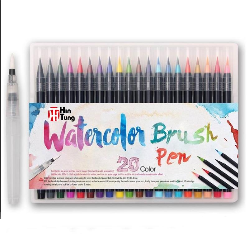 20 краски акварелью цвет мягкий наконечник кисточки Творческий каллиграфия ручка погружения в воде набор маркеров + 1 waterbrush