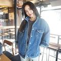 Bf Vento de Outono E Inverno As Mulheres Casaco Jaqueta Jeans 2016 Harajuku Oversize Solta Calça Jeans Femininos Do Vintage Sólidos Magro Chaquetas Mujer