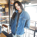Bf Wind Autumn And Winter Women Denim Jacket 2016 Vintage Harajuku Oversize Loose Female Jeans Coat Solid Slim Chaquetas Mujer