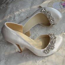 Round Toe White Color Satin Wedding Dress Shoes Custom Made Bridal Shoes Rhinestone Lady Prom Shoes Bridesmaid Shoes