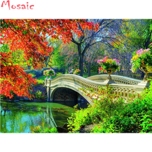 Exceptionnel DIY Diamond Painting Cross Stitch Kit Garden Bridge Landscape Full Square  5D Diamond Embroidery Needlework Diamond