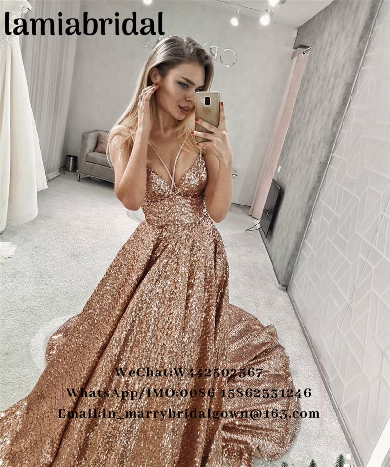 US $179.0 |Sparkly Rose Gold Sequined Prom Dresses 2K19 Plus Size Low Back  Black Girls 2019 Formal Evening Vestidos De Fiesta Largos Gowns-in Prom ...