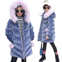 Girls winter jacket kids coats jacket for teenage pleuche fur collar down coats children kids down jacket hooded kids clothes
