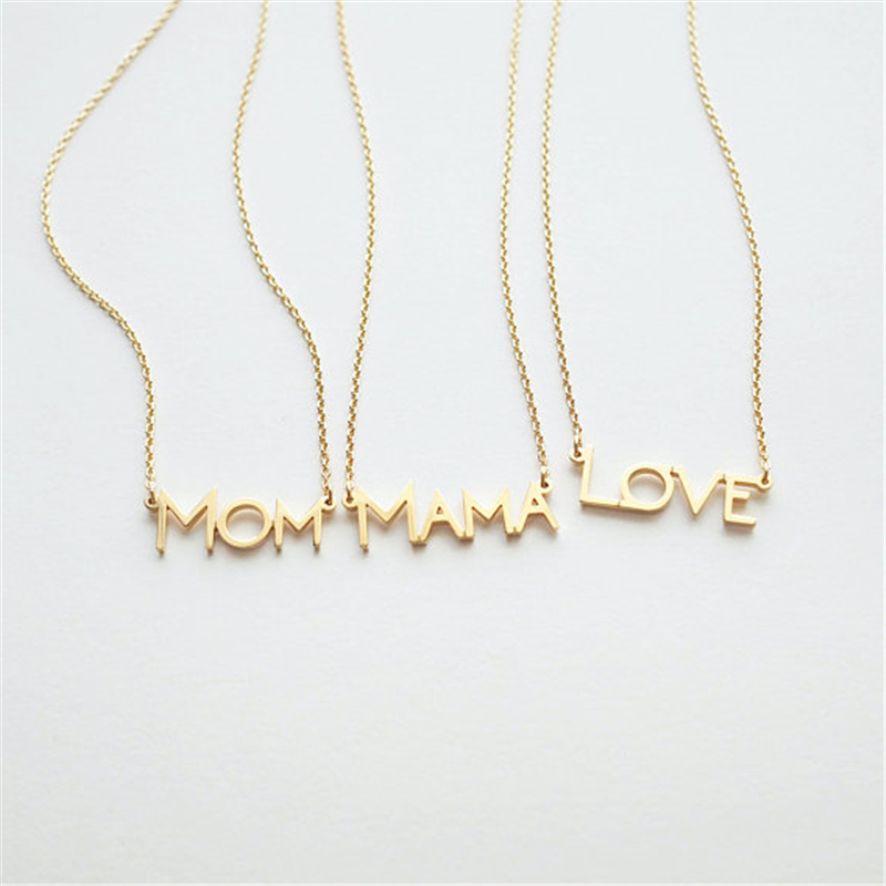 Gold color Chain Simple Letter Necklace MOM love mama Tag pendant necklaces for mother gril Gift Infinity Love Family