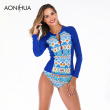 Aonihua Separate Swimsuit Bathing Suit Women Long Sleeve Floral Printed Triangle Swim Front Zipper Design