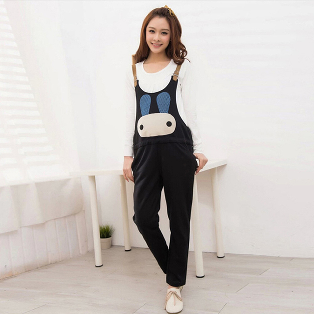 2015 Autumn maternity women jumpsuit hot sale pants trousers  for pregnant overalls cartoon pattern