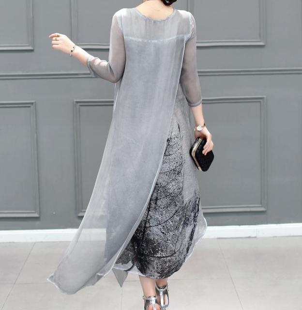 Fashion 2021 Free Shipping New Spring Summer Women Work Wear Cotton Linen Dresses Folk Art Ink Print Casual Slim Dress Retro 4