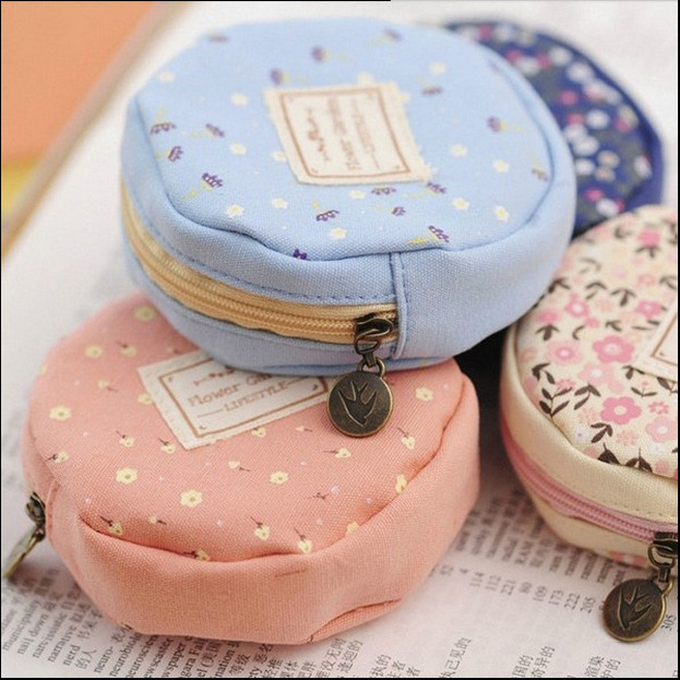2017 Girls cute flower pattern small coin purse round canvas headphone package pouch