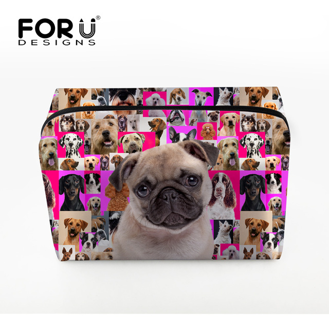Portable Cute Pug Dog Make up Bags Multifunction Travel Cosmetic Bag for Makeup Toiletry Pouch Makeup Organizer Bags for Ladies