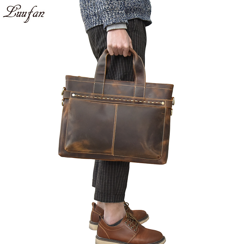 Vintage Mens Genuine Leather briefcase Cowhide Business laptop bag Cow leather 15 PC Tote Crazy horse