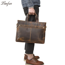 Vintage Mens Genuine Leather briefcase Cowhide Business laptop bag Cow