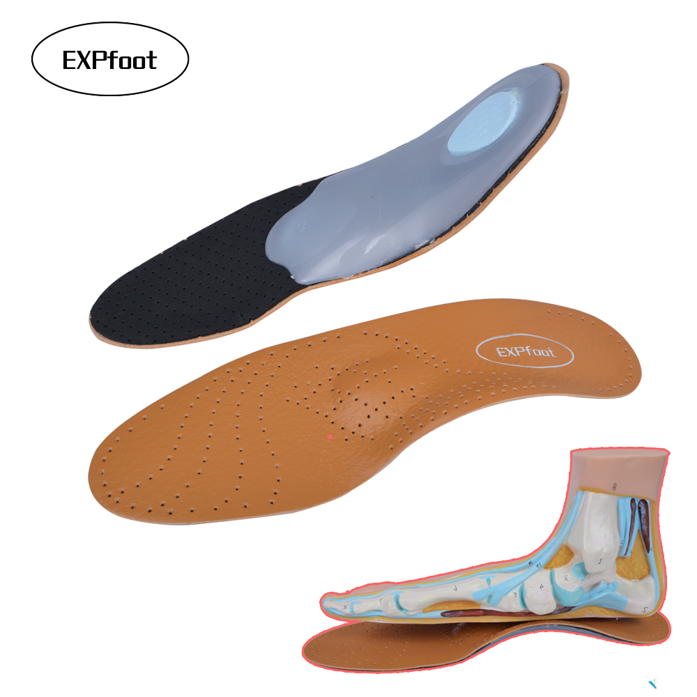 2pair/lot Premium EVA pad Leather orthotics Insole for Flat Foot Arch Support orthopedic Silicone Insoles for men and women NEW