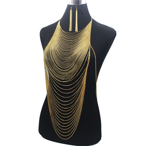 Image 4 - Luxury Fashion Shiny Sexy Body Belly  Gold Silver Color Full chain Body Chain Bra Slave Harness Necklace Tassel Waist Jewelry