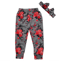 Flower Kid Baby Girl Infant Floral Trousers Toddler Legging Long Pants Headband 2PCS Casual Cotton Clothing