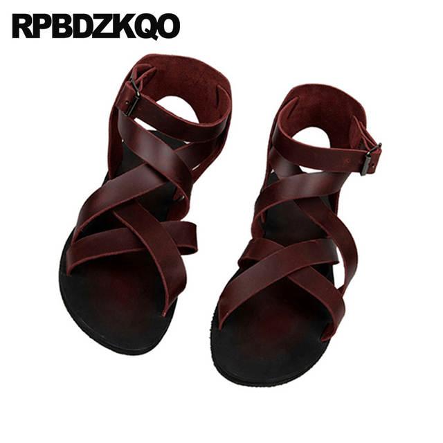 Romano Playa Zapatos Punta Negro Runway Abierta Sandalias Plano Gladiador Cuero Hombre Verano Borgoña Respirable 2018 Italiano Botas Correa SpqGjLUMzV