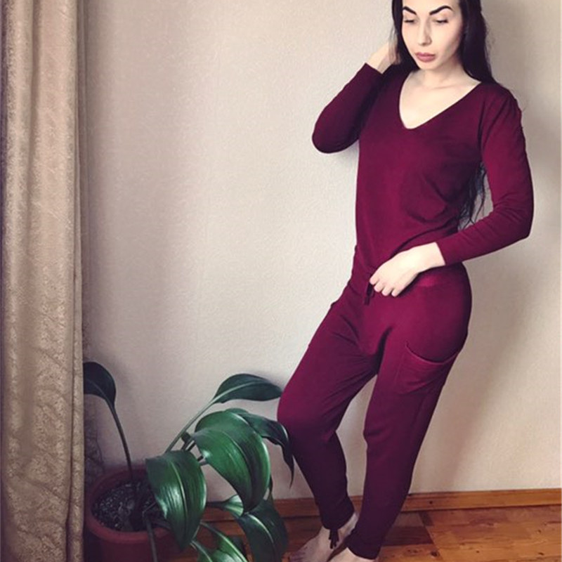 17 Hot 2 Pieces Set Women V-Neck Sexy Knitted two pieces sets Spring Suits Tracksuit Sweater top+ Pants Set Womens Casual Suit 15