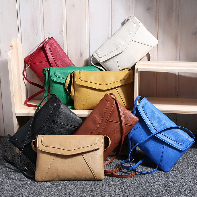 Women's Leather Messenger Bag Handbags Shoulder Cross body Bag Fashion Vintage Small Envelope Bags Clutch satchels 103bag