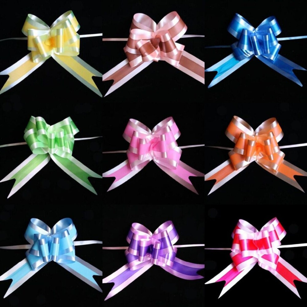 Pack of 30 30mm Cream Pull Bow Decorations Wedding  Car Gift Wrap Floristry