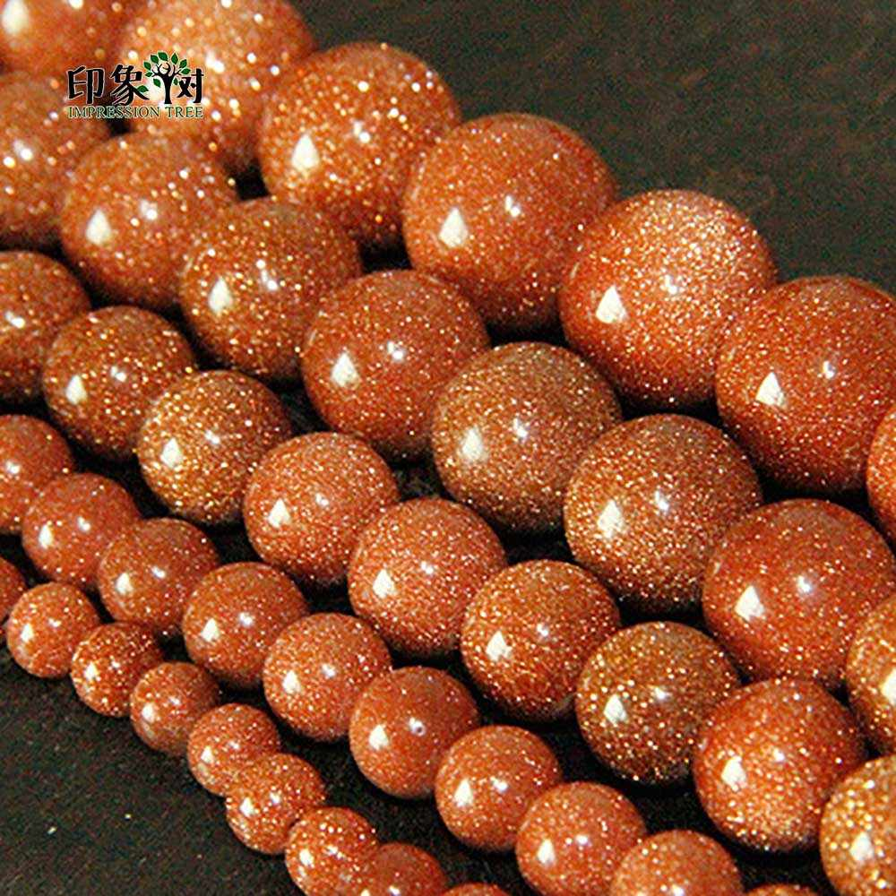 6/8/10/12/14mm Natural Gold Sand Stone Beads Round Loose Beads Stone Beads For DIY Necklace Bracelet DIY Jewelry Making 1865