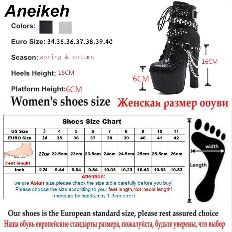 Aneikeh Zip En Métal Chaînes Rivet Moto Bottes Femmes Chaussures Super Haute Talons Plate-Forme Cheville Bottes Punk Rock Gothique Biker Bottes - 6