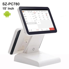 """15"""" Free Software SDK dual screen Touch Screen Android Tablet PC Termina POS system Cash Register machines with Wifi,bluetooth"""