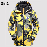 New arrival Men's Winter 3in1 Waterproof Jacket Outdoor Sport Warm Brand Coat Hiking Fishing Camping Trekking Skiing Men Jackets