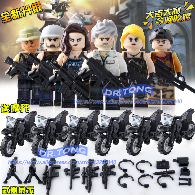 6pcs/lot Winner Winner Chicken Dinner Soldier Army NEW PUBG FPS Game MILITARY Motorcycl Figures Building Blocks Educational Toys