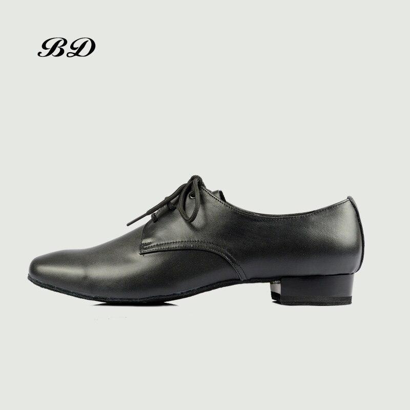 TOP BD Chaussures De Danse Salle De Bal HOMMES Latine Chaussures Homme Chaussures BDDANCE 304 Authentique Haut de Gamme Vraie Peau de Vache Durable Droite semelle TALON 2.5 CM