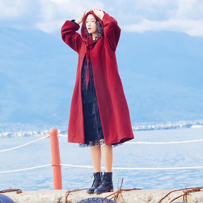 YOSIMI осень зима женское длинное шерстяное пальто красное пальто с капюшоном пальто Макси длинное шерстяное пальто Женская куртка длинное женское пальто - Цвет: Бургундия