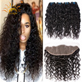 Ear to Ear Lace Frontal Closure With Bundles 3 Bundles Brazilian Water Wave Virgin Hair With Closure Curly Human Hair Weave