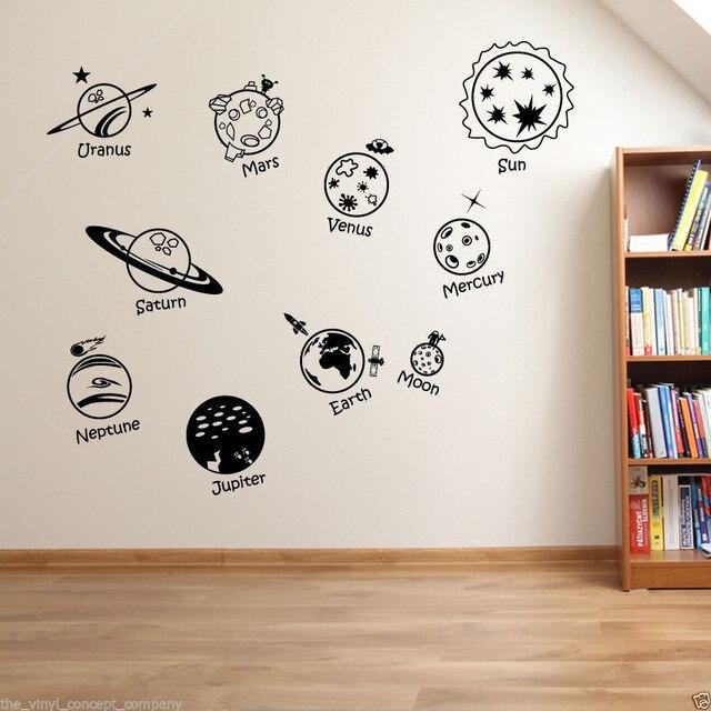 Stickers muraux décor à la maison bricolage affiche décalcomanie pépinière murale vinyle personnaliser système solaire vaisseau spatial dans l'univers enfants