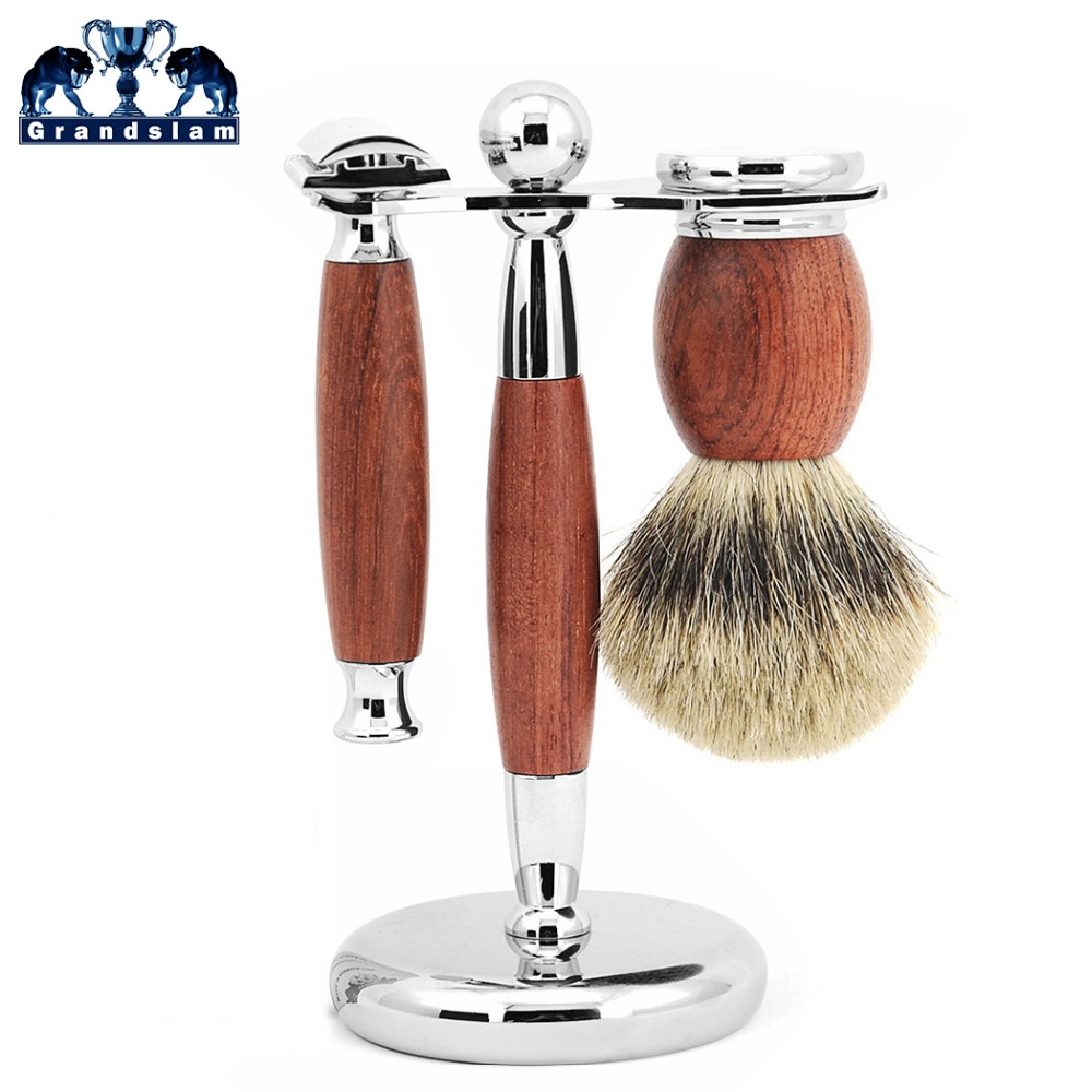 Grandslam Men Double Edge Safety Razor Kit Adjustable Shaver Badger Hair Shaving Brush Natural Wood Razors Stand Holder Set mens badger shaving brush stand razor holder and double head safety straight razor