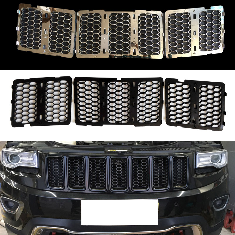 Car Front Racing Grills Grid Covers Air Intake Grid Strip Middle Net Buckle Decorative For Jeep Grand Cherokee 2014-2016 racing grills version aluminum alloy car styling refit grille air intake grid radiator grill for kla k5 2012 14