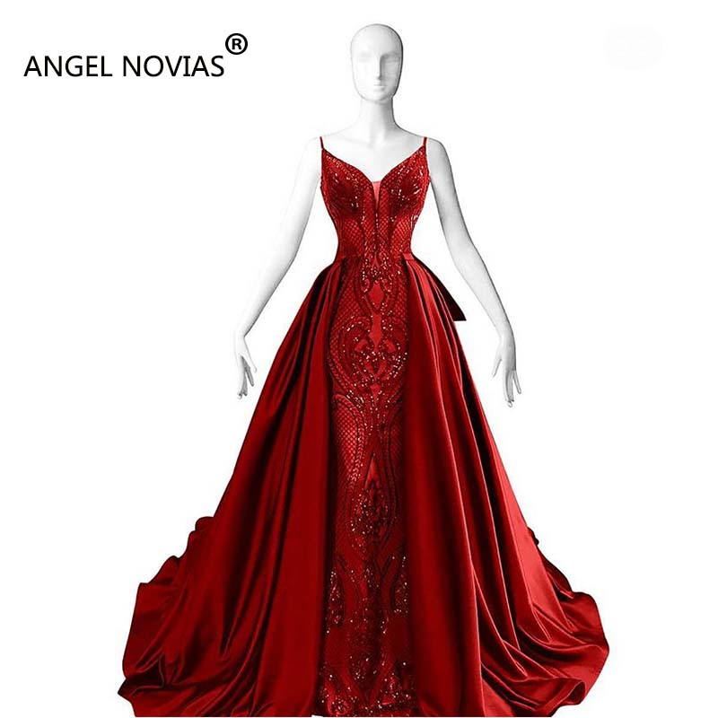 ANGEL NOVIAS Long Mermaid Red Glitzer Abendkleider Arabic   Evening     Dress   2018 with Detachable Skirt kaftan moroccan