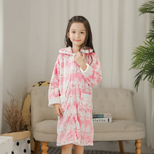 Robe For Kids Girl Flannel Cardigan Nightgown Robs Girls winter lounge gown