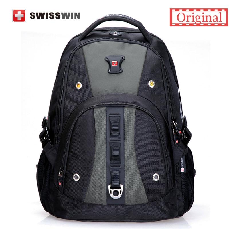 Swisswin Black Business Backpack Male Swiss Military 15.6 Computer Bag Mochila masculino Orthopedic Backpack sac a dos swisswin black business backpack sw9218 male swiss 15 6 computer swissgear wenger bag 23l mochila