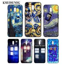 Silicone Case For OnePlus 5T 6 6T Printing Pattern Black Soft Phone Cover Tardis Box Doctor Who Style