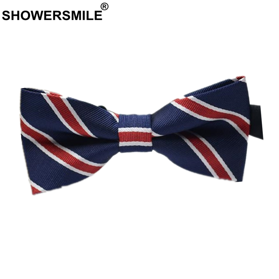 SHOWERSMILE British Style Men Bow Tie Red Blue Striped Male Bow Tie Brand Adult Fashion Neck Ties Wedding Accessories For Men