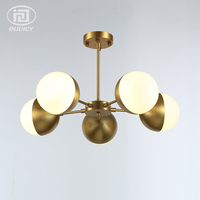 5 огни Стекло подвесные светильники с из белого матового материала основного хода шарообразные, филиал молекулы, которые оказывают дополни