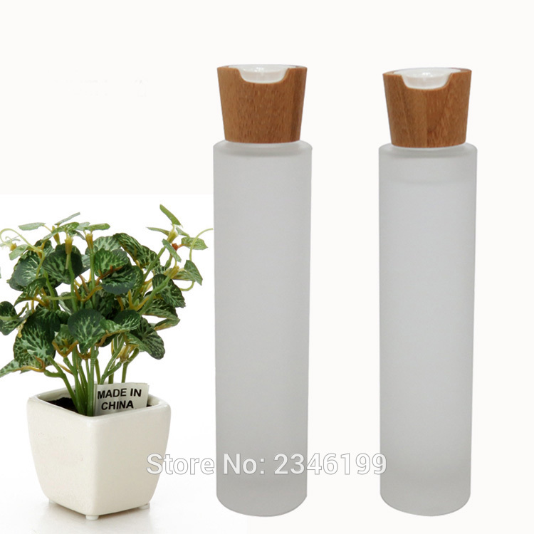 100ML Bamboo Cover Frosted Glass Bottle Wooden Crown Cap Hydrosol Sub Bottle Make Up Toner Liquid