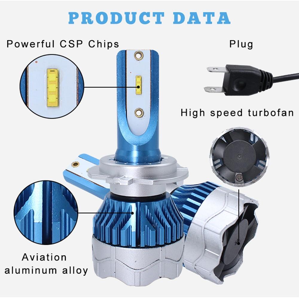 2 Pcs Car Turbo LED Headlight Kit H4 H7 led 9006 9005 H1 H3 H11 80W 6000K 8000LM CSP Chips Super Bright Bulbs Lamp K5 2019 New in Car Headlight Bulbs LED from Automobiles Motorcycles