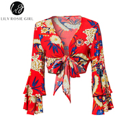 Lily Rosie Girl Red Floral Print Women Sexy Blouses V Neck Lace Up Crop Shirts Summer